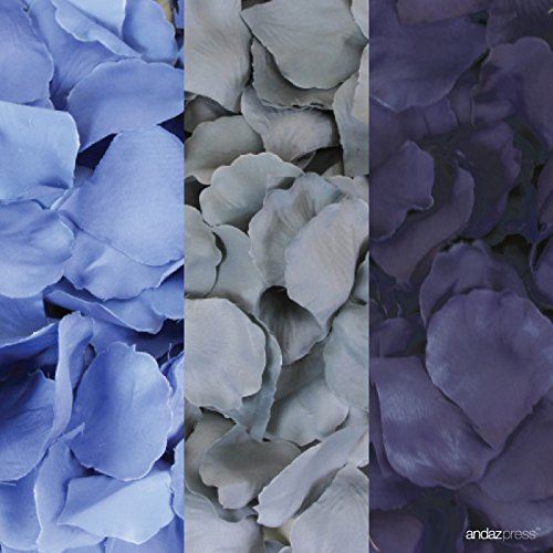 Andaz Press Silk Fabric Rose Petals Table Decorations, Baby Blue, Gray, Navy Blue, 600-Pack, Colored Wedding Baby Bridal Shower Party Supplies