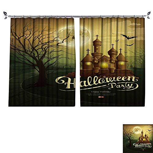 DESPKON Environmental Protection Material Polyester Happy Halloween Party Castles with Message,bat,Silhouette Tree,Moon for Living Room Window,Sun Insulation. W96 x L96