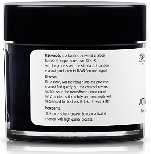 Blackwoods Charcoal Teeth Whitening | Black Carbon Activated Charcoal Powder by Blackwoods Active Charcoal Teeth Whitener from Organic Bamboo + Jar/1.2oz Pure Natural