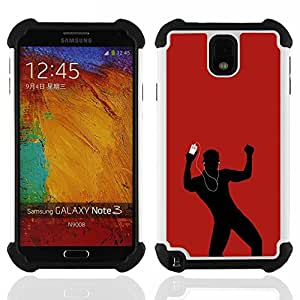 - dance music love red man earphones/ H??brido 3in1 Deluxe Impreso duro Soft Alto Impacto caja de la armadura Defender - SHIMIN CAO - For Samsung Galaxy Note3 N9000 N9008V N9009