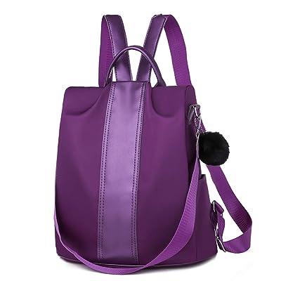 Anti theft Oxford School Waterproof Backpacks Purple null: Shoes