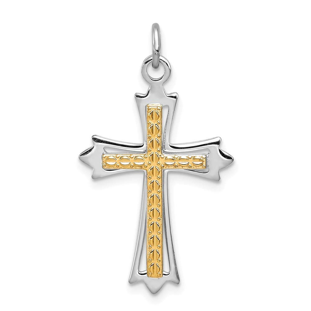 18mm x 27mm Sonia Jewels Sterling Silver /& Gold-Toned Cross Pendant