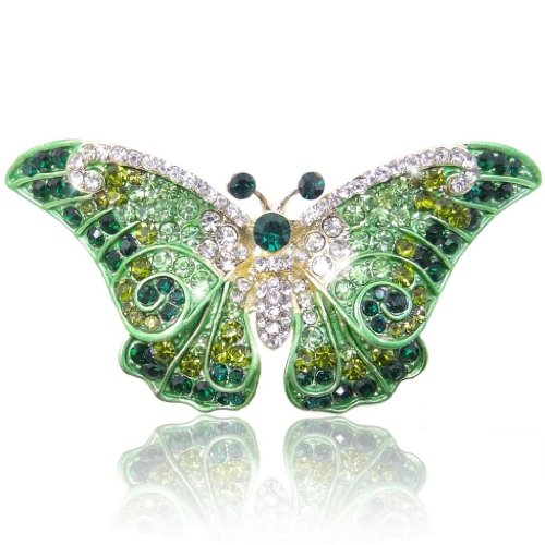 Austrian Crystal Butterfly Pin (EVER FAITH Women's Austrian Crystal Cute Butterfly Insect Brooch Green Gold-Tone)