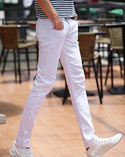Casual Straight Sottile Uomo Maschi Jeans Pantaloni Gioventù Bianco Elasticità UwqFYqz1