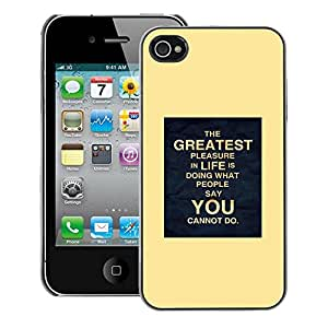 A-type Arte & diseño plástico duro Fundas Cover Cubre Hard Case Cover para iPhone 4 / 4S (Yellow Poster Inspiring You Life Moving)