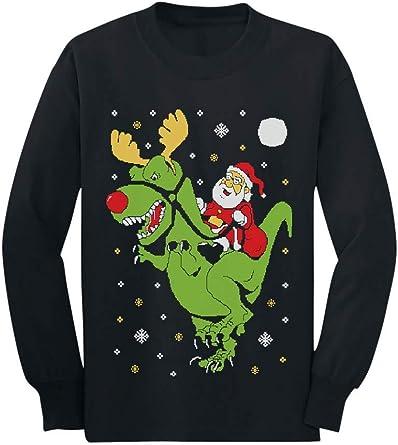 T-Rex Santa Ride Funny Ugly Christmas Sweater Toddler//Kids Sweatshirts