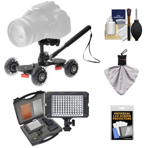 Vidpro SK-22 Professional Skater Dolly for Digital SLR Cameras & Video Camcorders with Vidpro Z96 9-Piece LED Light Set + Accessory Kit