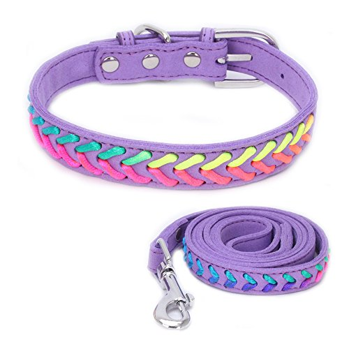 Dogs Kingdom Soft Suede Fabric Colorful Rope Braided Cute Puppy Dog Cat Collar and Leash Set for Small and Medium Breeds Purple XS ()