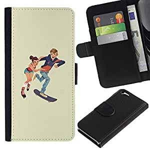 EJOY---Tirón de la caja Cartera de cuero con ranuras para tarjetas / Apple Iphone 6 / --Patinaje niños