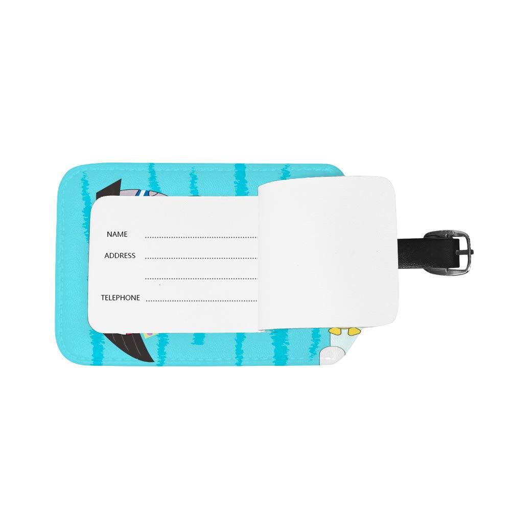 Chehong /Étiquette de Bagage en Cuir pour Valise Hippopotame sur Bateau Accessoires de Voyage /Étiquettes Bagage Sac ID Carte 1 pi/èce