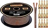 InstallGear 12 Gauge Speaker Wire - 99.9% Oxygen-Free Copper with 12 Banana Plugs (100-feet)