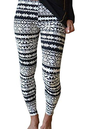 HaiDean Leggings Donna Vintage Stampato Pattern Collant Autunno Invernali Fashion Eleganti Semplice Glamorous Elastico Skinny Pantaloni A Matita Tempo Libero Pantaloni Colour-5