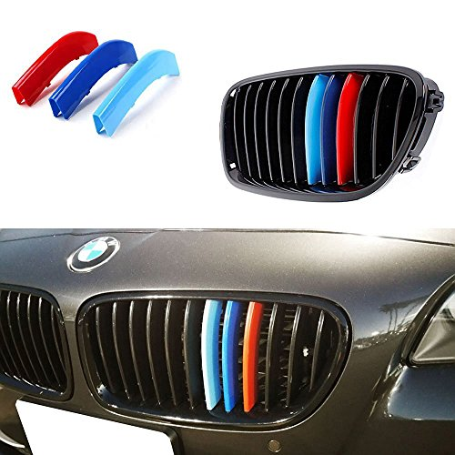 Colored Inserts - iJDMTOY Exact Fit///M-Colored Grille Insert Trims For 2010-2016 BMW F10 F11 5 Series 528i 535i 550i with M-Performance Black Kidney Grill (12 Beams)