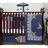 Sweet Jojo Designs Nautical Nights Blue and White Sailboat Baby Boy Bedding 9pc Crib Set