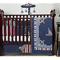 Sweet Jojo Designs Nautical Nights Blue and White Sailboat Baby Boy Bedding 9pc Crib Set