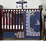 Sweet Jojo Designs 9-Piece Nautical Nights Blue and White Sailboat Baby Boy Bedding Crib Set