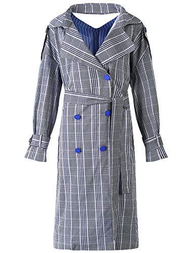 De Veste Trench Elf Slim Sack Femme Collier Bleu Coat Personnalité Longue TTIAzBq
