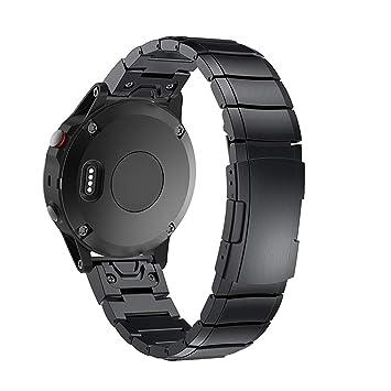 MiSha Correa metálica de Acero Inoxidable para la Pulsera Inteligente Garmin Fenix 5X/3/3 HR, reemplazo de Banda de Reloj de Metal
