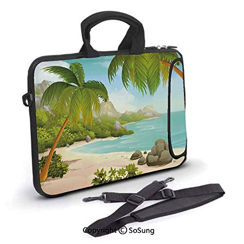 - 17 inch Laptop Case,Exotic Beach with Coconut Palm Trees and Rocks Journey Ocean Coastal Design Neoprene Laptop Shoulder Bag Sleeve Case with Handle and Carrying & External Side Pocket,for Netbook/Mac