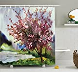 Ambesonne Country Shower Curtain, Painting of Spring Landscape Blooming Nature Flowering Tree and Fresh Grass Nature, Fabric Bathroom Decor Set with Hooks, 75 inches Long, Pink Green