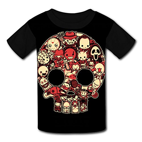 Bloody Lil Horrors T-Shirt Short Sleeve Kids Tee Shirt Black Cartoon 2018 for Girls Boys (Happy Halloween Slashers)