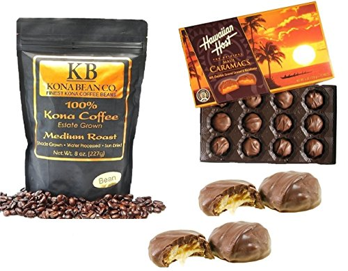 Hawaiian Host & Kona Coffee Chocolate Gift Set - Caramacs Milk Chocolate Caramel Drenched Over Dry Roasted Macadamia Nuts -100% Kona Coffee Kona Bean Co. Medium Roast Coffee Bean (Medium Roast Bean)