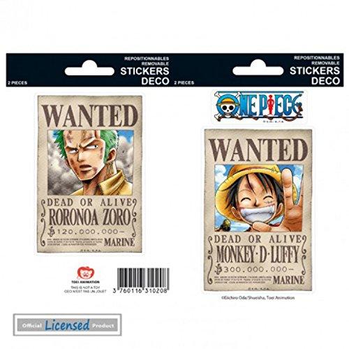 One Piece Sticker Set - Wanted Luffy, Zoro (6 x 4 inches)