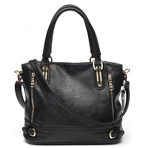Mlife Medium Women Faux Leather Shoulder Handbag Hobos (Black) by Mlife
