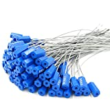 Pull-Tite Steel Security Cable Wire Seals Numbered Anti-Tamper Security Tags (Blue, Pack of 100pcs)