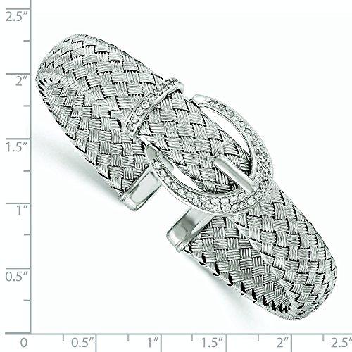 11.8mm en argent sterling CZ Bracelet jonc tressé flexible