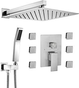 STARBATH Shower Jets System, 12 Inch Wall Mounted Rainfall Shower Head with 6 Body Sprays and Brass Handshower, Shower Faucet Rough-in Mixer Valve and Trim Included Shower Combo Set, Brushed Nickel