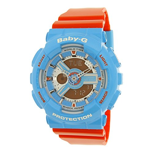 Casio Baby-G NEO POP COLOUR Series Blue Orange Womens Resin Watch BA110NC-2A World Time Shock Water Resistant Alarm