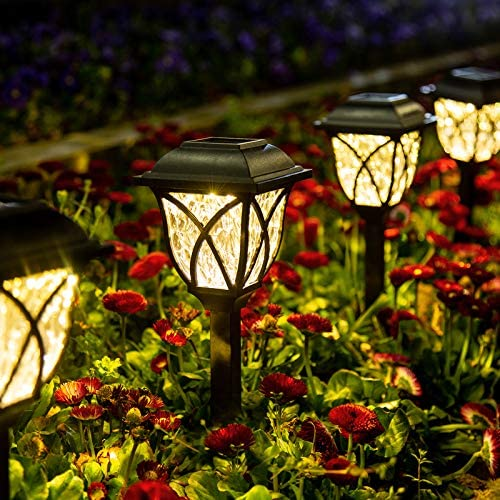 GIGALUMI Solar Pathway Lights Outdoor, 6 Pack LED Solar Landscape Lights, Waterproof Solar Powered Pathway Lights for Yard, Patio, Landscape, Walkway Warm White