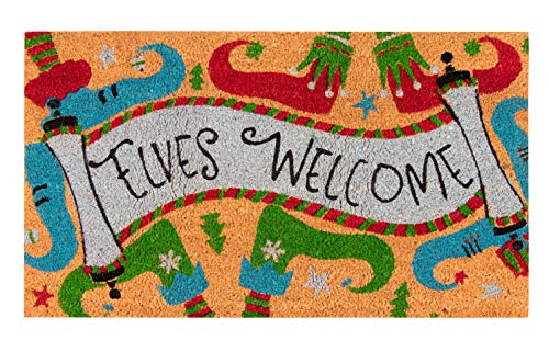 Juvale Natural Coir Door Mat - Merry Christmas Indoor Outdoor Welcome Doormat, Easy Clean, PVC Anti-Slip Backing Front Entry Mats, Holiday Elves Welcome Design, Brown, 17.2 x 30 x 0.5 Inches (Mats Xmas Door)