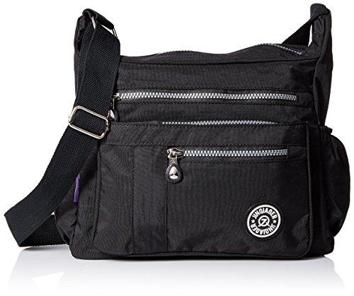 Womens Messenger Nylon Zipper Black TianHengYi body Lightweight Bag Cross Casual Shoulder Pockets Bag with dBawTqp