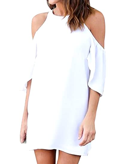 Womens Summer Cold Shoulder Chiffon Casual Flowy High Neck Dress For Beach Party (White,