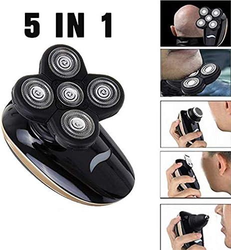 Maquinilla Afeitar Eléctrica Hombres, 5 En 1 IPX7 Impermeable 5D Rotary Shaver Trimmer Grooming Kit, Afeitadora Recargable USB con Cabeza Calva con 5 Cabezales Flotantes, Uso Dual Húmedo Y Seco: Amazon.es: Hogar