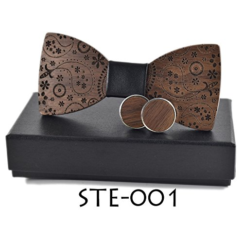 New Fashion Accessories Plaids Womens Mens Bowknot Bowtie Classic Carved Print Wood Creative Bow Ties Necktie Wedding Party Set SET-001 - Yarn Woods Print