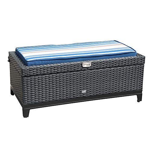 Orange Casual Outdoor 3 in 1 Resin Wicker Storage Bench Box with Seat Cushion, Aluminum Frame, Black Rattan and Striped Cushion