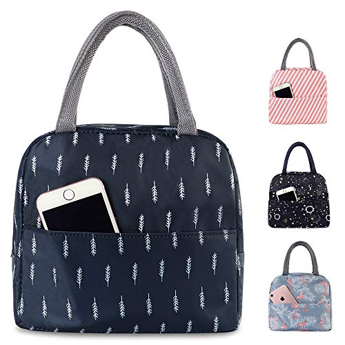 Buringer Reusable Insulated Lunch Bag Cooler Tote Box with Front Pocket Zipper Closure for Woman Man Work Pinic or Travel (Dark Blue)