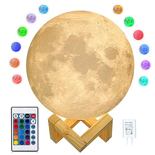 CPLA Moon Lamp Moon Light 3D Seamless Moon Lamp Large Upgrade 16 Color Moon Night Light with Stand Globe Cool Lamp, Adapter included Desk Lamp【7.1 inch 16 Color】