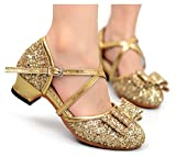 Hanxue Girls Bowknot Glitter Wedding Dress Pumps Dance Shoes (Toddler/Little Kid) Gold 2.5 M US Little Kid