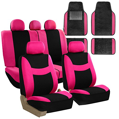 (FH Group FH-FB030115 Light & Breezy Cloth Seat Cover Set w. F14407 Floor Mats Pink/Black- Fit Most Car, Truck, Suv, or Van)