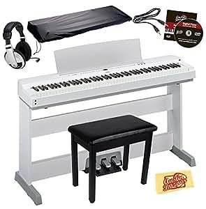 yamaha p 255 digital piano white bundle with l 255 furniture stand lp 255 pedal. Black Bedroom Furniture Sets. Home Design Ideas