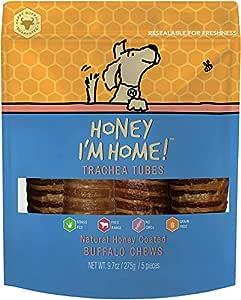 Honey I'm Home Natural Honey Coated Buffalo Dog Treats, 7 Inch Trachea Tubes