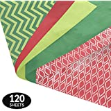 Modern Christmas Gift Wrapping Tissue Paper Set - 120 Sheets - Patterned and Solid Color