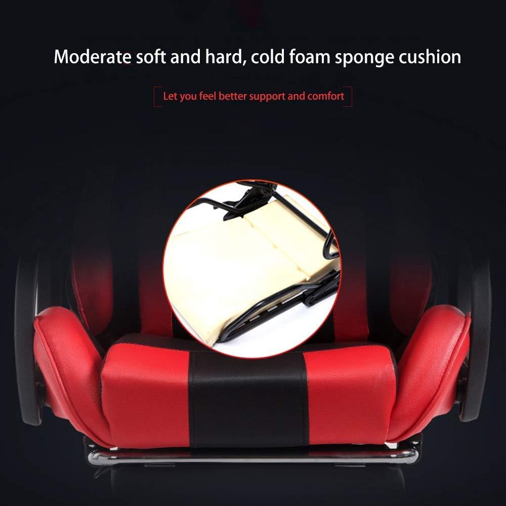 JIEER-C stol racerstol, upphöjd roterande hög rygg spelstol vilande ergonomi datorstol med nackstöd och massage korsryggskudde, blå vit Svart, rött