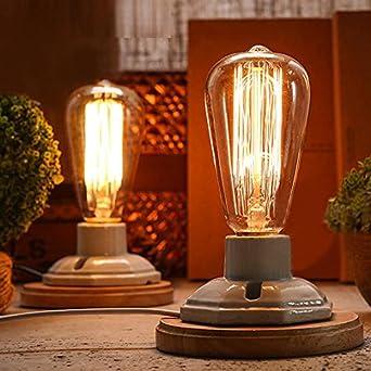 Kiven Vintage Decor White Ceramics Wooden Base Table Lamps E26 Industrial Lamp Home Decor Bulb Not