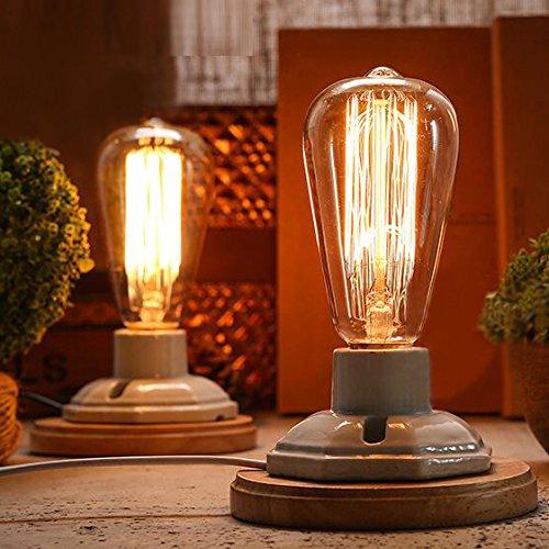 Kiven Vintage Decor White Ceramics Wooden Base Table Lamps E26 Industrial Lamp Home Decor Bulb Not Included