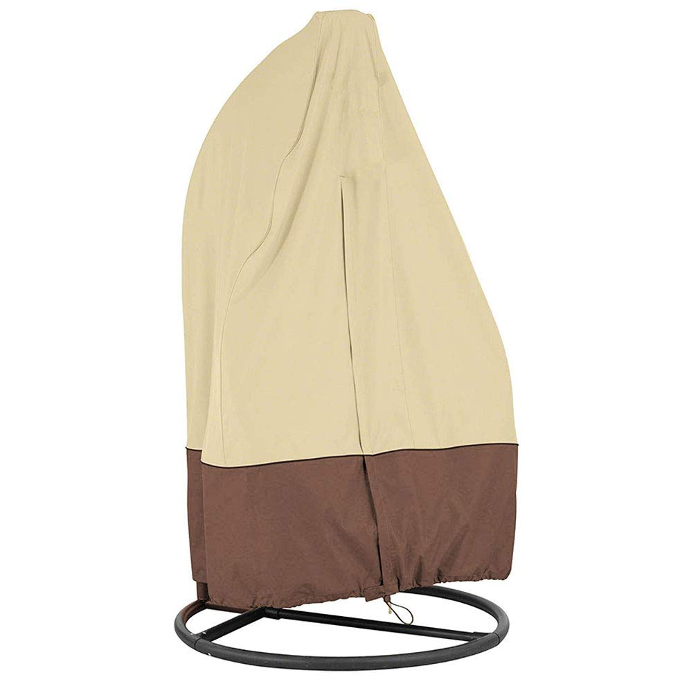 SYCYKA Patio Hanging Chair Cover 210D Oxford Fabric Waterproof Veranda Patio Cocoon Egg Chair Cover Beige Coffee